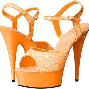 "Pleasers DELIGHT-609 Neon Orange 6"" Dancer Shoes 8"